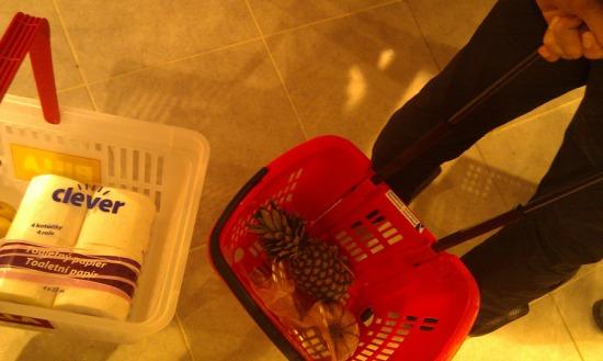 Ďalšie dva spôsoby, ako si odniesť tovar. Košík na kolieskach a klasický košík