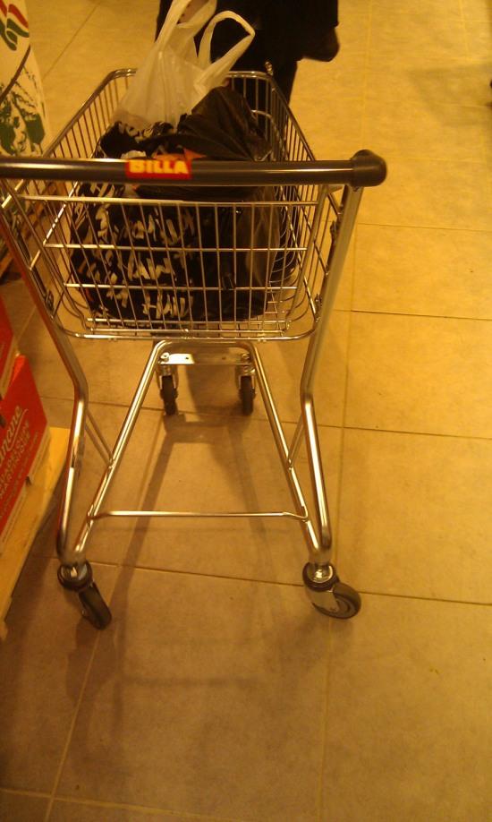 Kompaktný vozík, jeden z troch nosičov potravín na výber